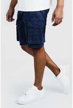 Navy Washed Cotton Slim Fit Cargo Short