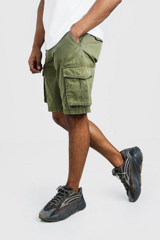 Khaki Washed Cotton Slim Fit Cargo Short