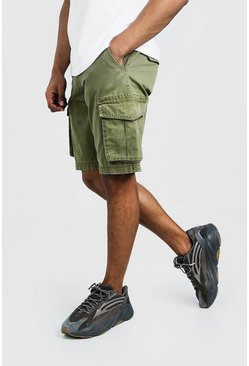 Mens Khaki Washed Cotton Slim Fit Cargo Short