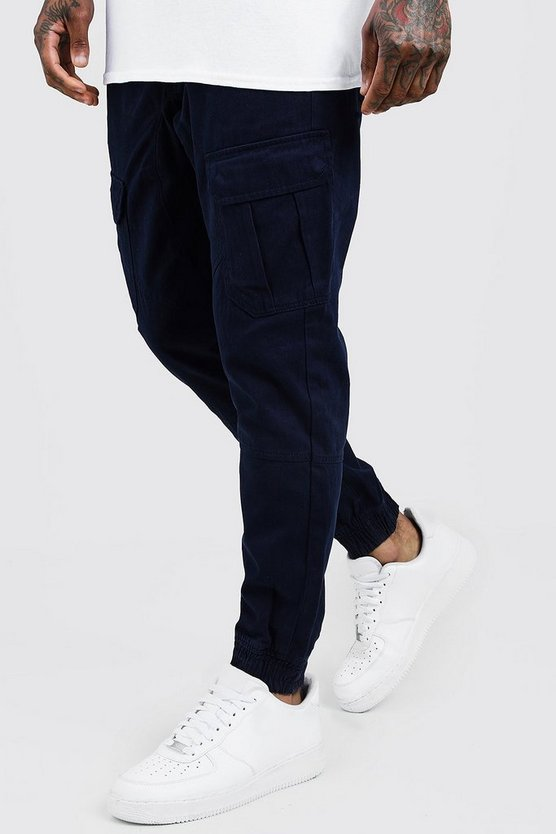 Mens Navy Cuffed Cargo Pants With Drawstring Waist