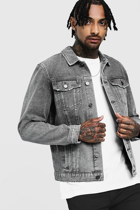 Mens Charcoal Regular Denim Western Jacket