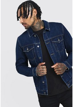 Mens Washed indigo Regular Denim Western Jacket