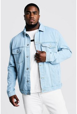 Mens Light blue Big & Tall Denim Western Jacket