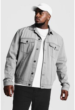 Mens Light grey Big & Tall Denim Western Jacket