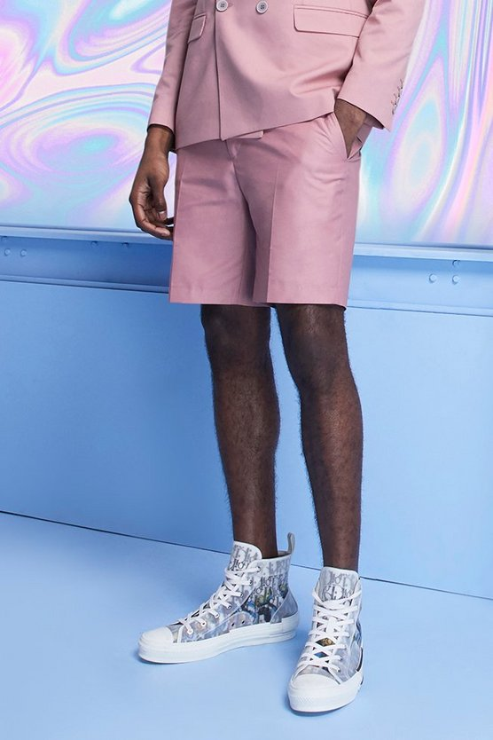 Mens Pink Plain Skinny Fit Tailored Shorts