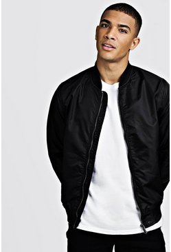 Mens Black Nylon MA1 Bomber Jacket
