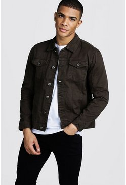 Mens Khaki Denim Jacket