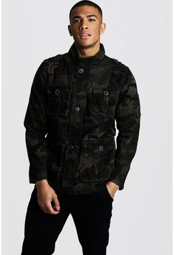 Mens Khaki Utility Jacket In Camo Print