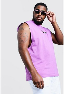 Mens Violet Big & Tall MAN Branded Tank With Back Print