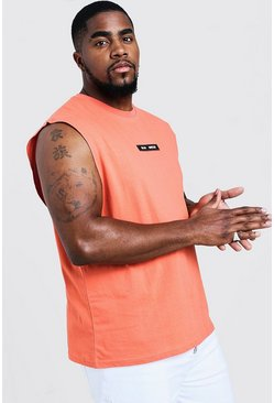 Mens Coral Big & Tall MAN Branded Tank With Back Print