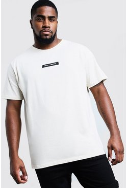 Mens Ecru Big & Tall Branded T-Shirt With Back Print