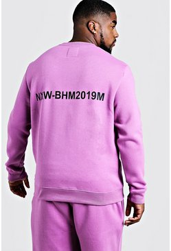 Mens Violet Big & Tall MAN Branded Sweater With Back Print