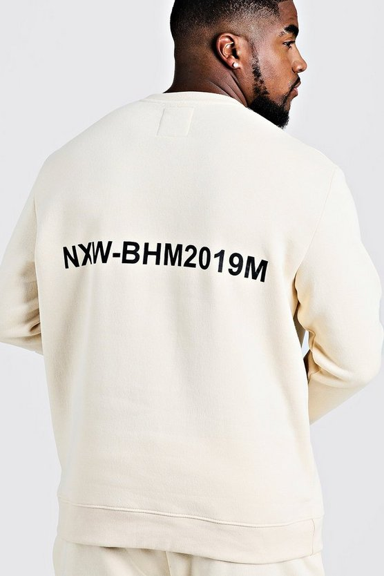 Mens Ecru Big & Tall MAN Branded Sweater With Back Print