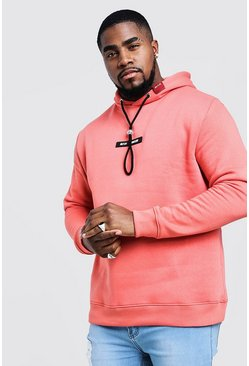 Mens Coral Big & Tall MAN Branded Hoodie With Back Print