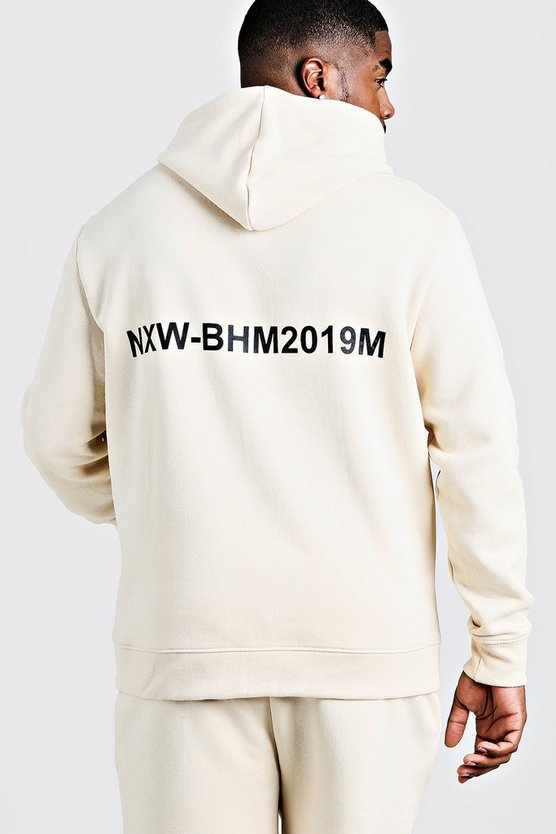 Mens Ecru Big & Tall MAN Branded Hoodie With Back Print