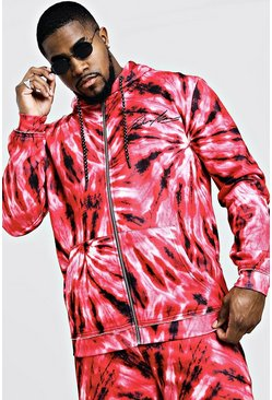 Mens Red Big & Tall MAN Embroidered Hoodie In Tie Dye