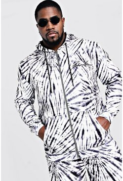 Black Big & Tall MAN Embroidered Hoodie In Tie Dye
