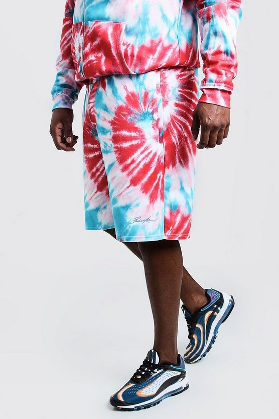 Blue Big & Tall MAN Embroidered Shorts In Tie Dye