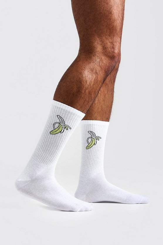 Mens White Banana Embroidered Tube Socks