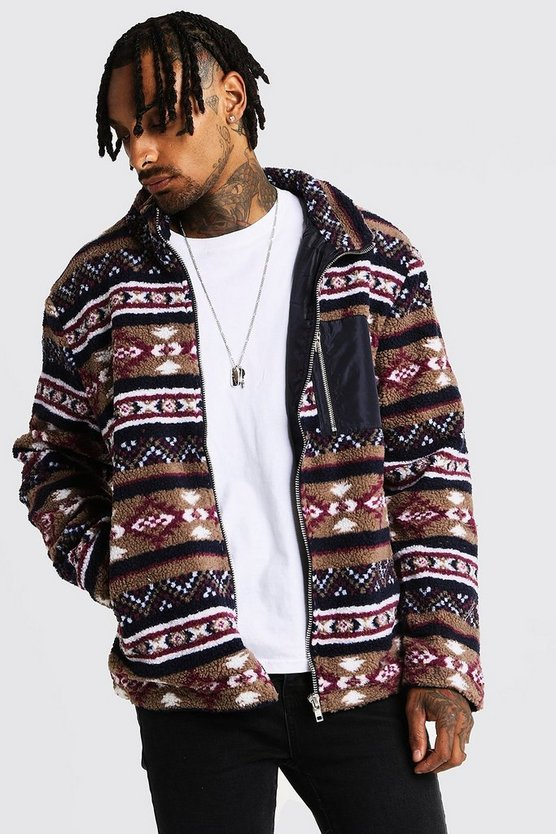 Mens Camel Borg Jacket In Aztec Pattern With Contrast Pocket