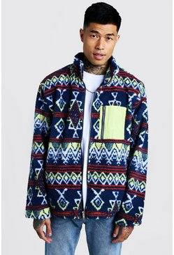 Mens Navy Borg Collar Jacket In Aztec Pattern