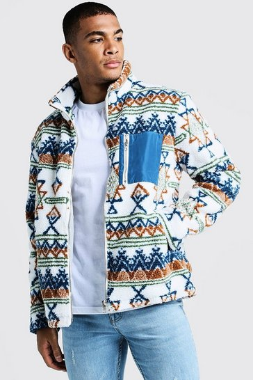 Mens Ecru Borg Jacket In Aztec Pattern With Contrast Pocket
