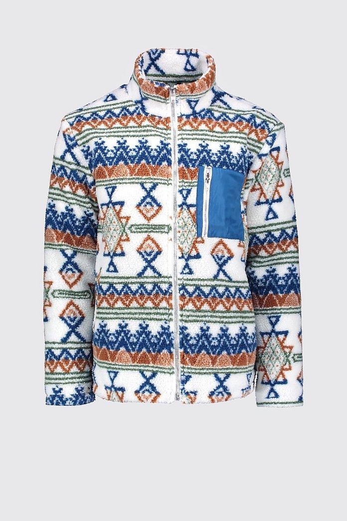 Jacke mit Borg Kragen, Azteken Muster und Kontrasttasche boohooMAN