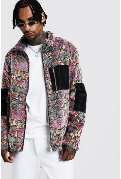 Mens Multi Faux Fur Jacket In Floral Pattern
