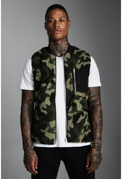 Green Borg Gilet In Camo With Contrast Pocket
