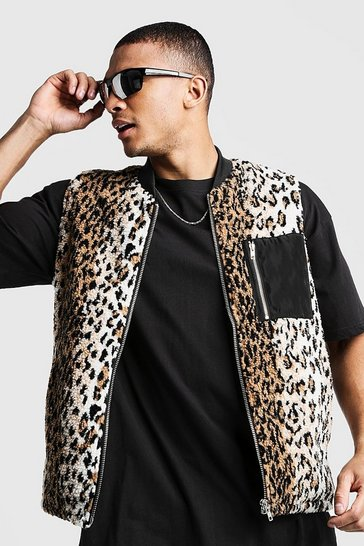 Mens Brown Borg Gilet In Leopard With Contrast Pocket