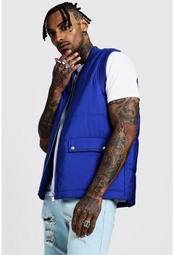 Cobalt Quilted Gilet With Flap Pockets