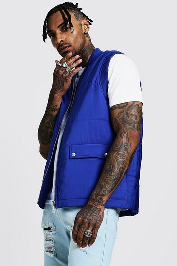 Mens Cobalt Quilted Gilet With Flap Pockets