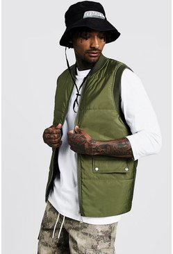 Mens Khaki Quilted Gilet With Flap Pockets