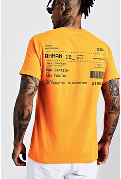 Mens Neon-orange BoohooMAN 19 Train Ticket T-Shirt