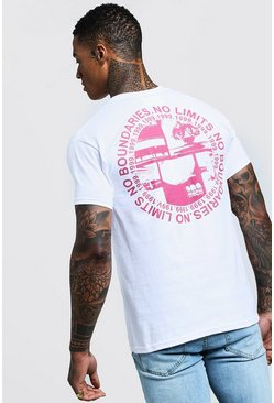 Mens White Limits Front And Back Print T-Shirt