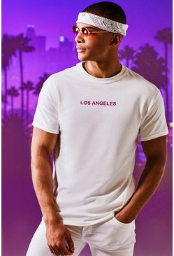 Mens White Los Angeles Print T-Shirt