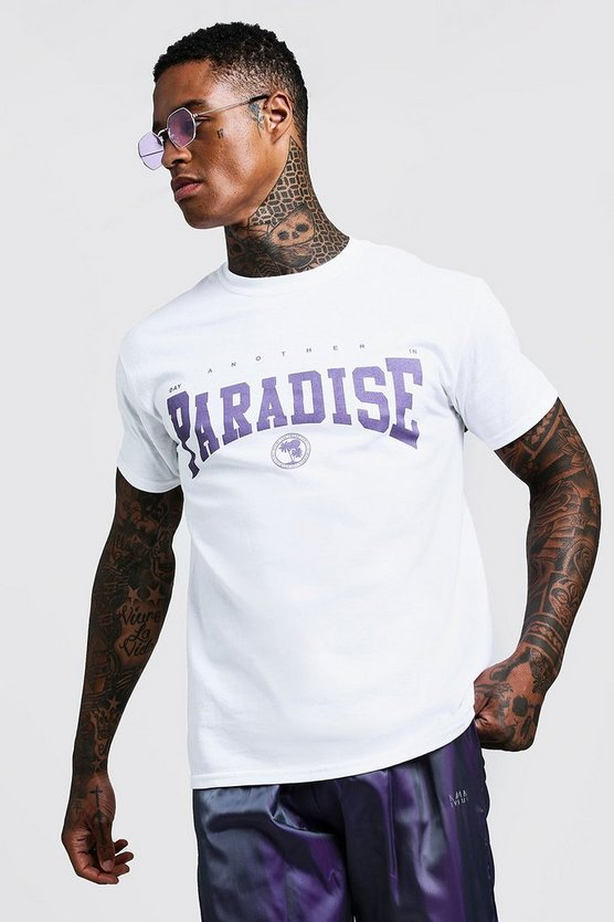 Mens White Paradise Slogan T-Shirt