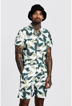 Mens White Floral Print Revere Collar Short Jumpsuit
