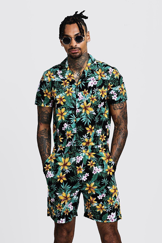 Vintage Men's Swimsuits – 1930s to 1970s History Floral Print Revere Collar Short Jumpsuit $48.00 AT vintagedancer.com