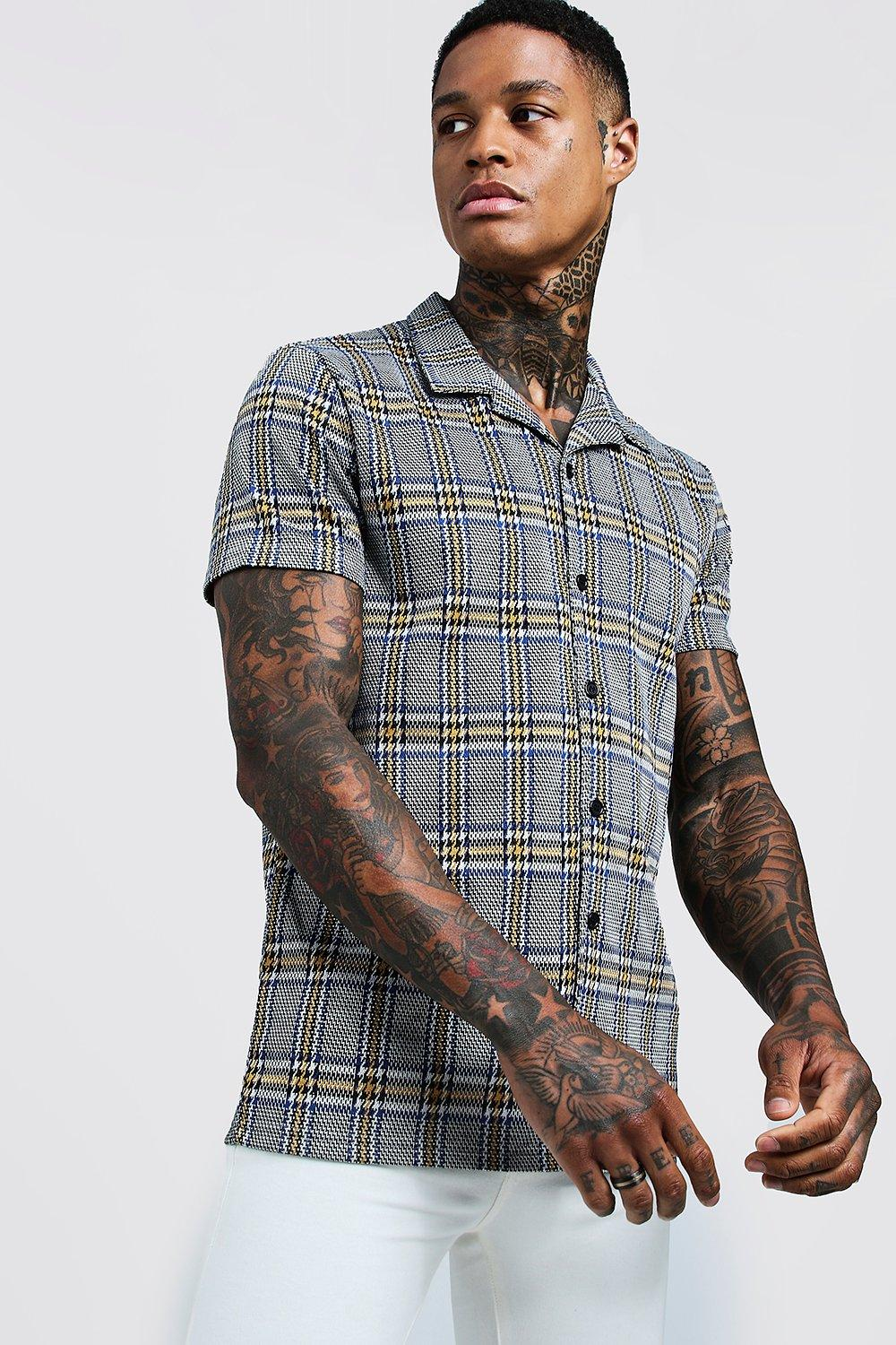 Retro Clothing for Men | Vintage Men's Fashion Jacquard Check Short Sleeve Revere Shirt $32.00 AT vintagedancer.com