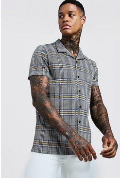 Mens Cobalt Jacquard Check Short Sleeve Revere Shirt