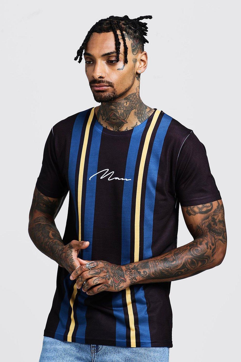 6bf81a8c MAN Signature Stripe T-Shirt | Boohoo