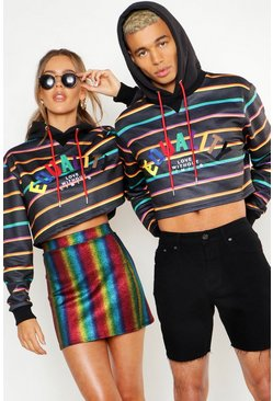 Black Pride Loose Fit Cropped Stripe Hoodie