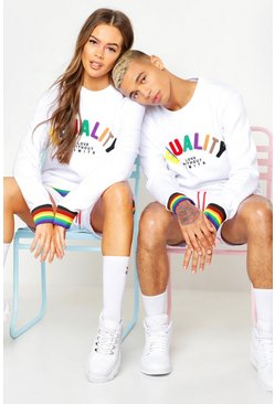 Sweat coupe ample à appliqué Equality Pride, Blanc, Homme