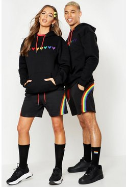 Herr Black Pride Loose Fit Hoodie With Heart Embroidery