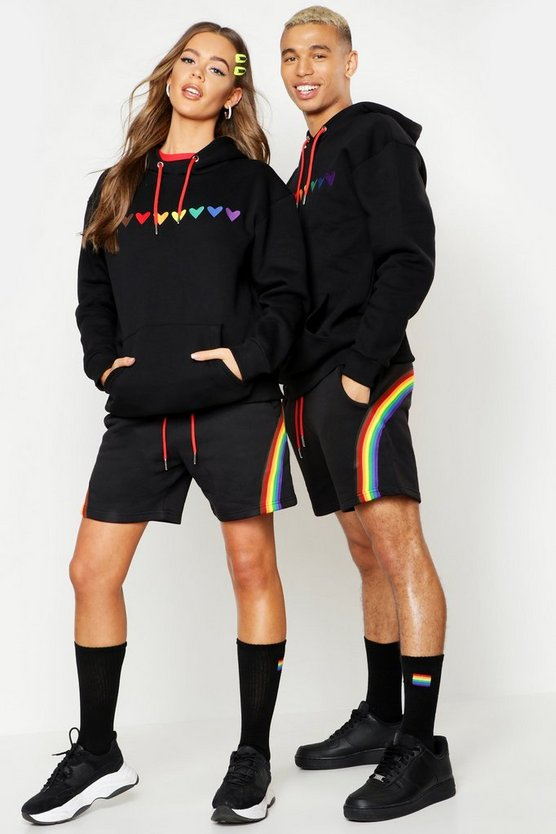 Mens Black Pride Loose Fit Hoodie With Heart Embroidery