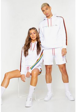 White Pride Loose Fit Short Tracksuit With Rainbow Tape