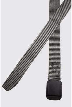 Grey Covered Buckle Nylon Tape Belt