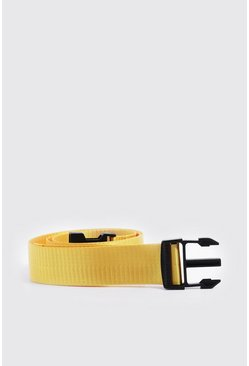 Mens Yellow Release Buckle Tape Belt