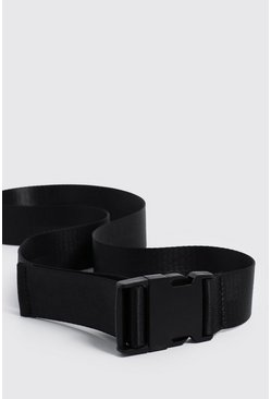 Black Release Buckle Tape Belt